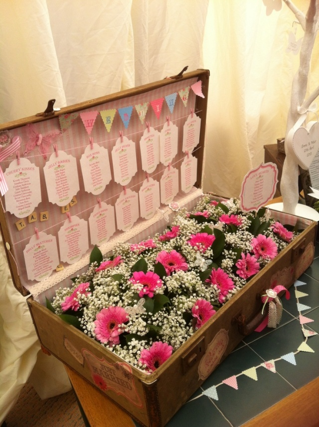 Vintage Suitcase Wedding Table Plan_via Sophie Reay
